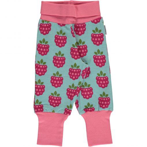 pantalón niña rosa y azul con frambuesas
