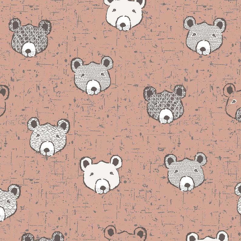 TELA WOLLY BEAR HEADS PINK